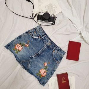 Topshop Jean Floral Mini Skirt